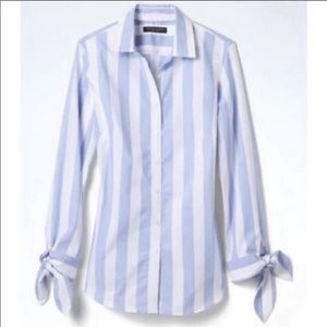 EUC Riley Fit Bow Cuff Striped Buttondown Shirt